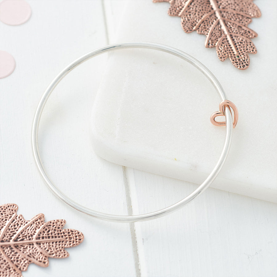 Solid silver and rose gold open heart charm bangle designer bracelet Scarlett Jewellery