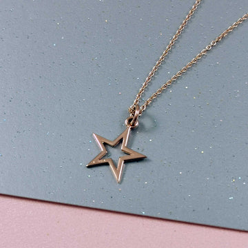 Outline Star Rose Gold Necklace
