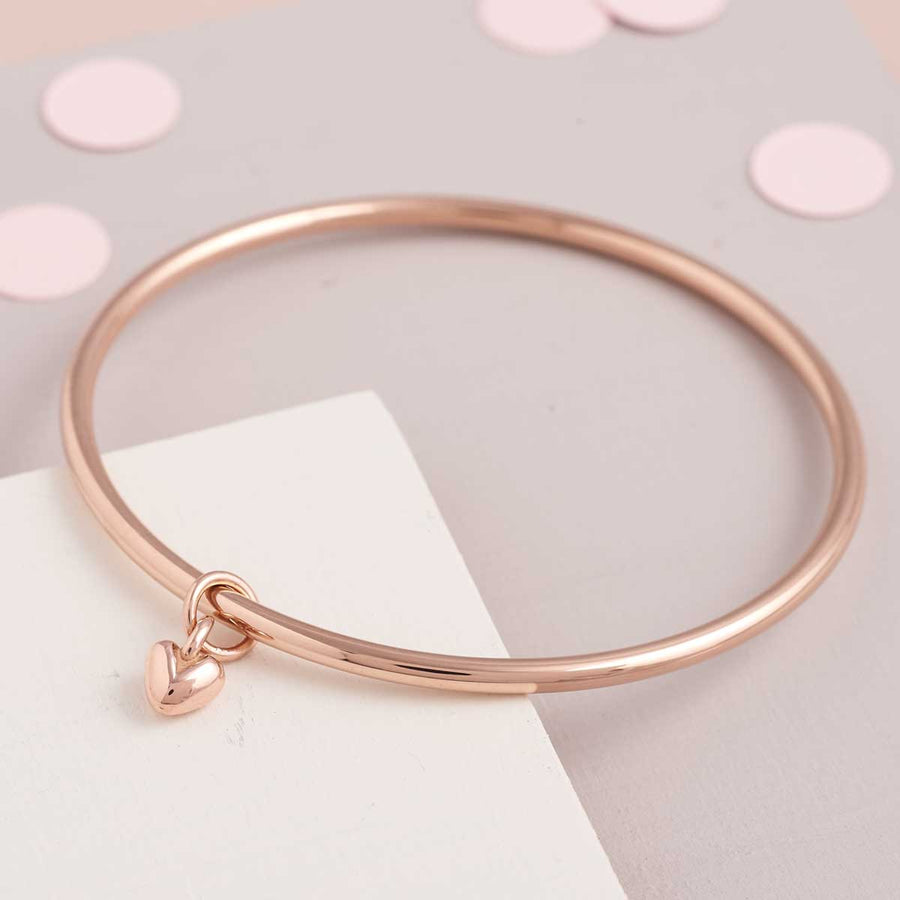 Recycled solid rose gold charm bangle handmade in UK Scarlett Jewellery