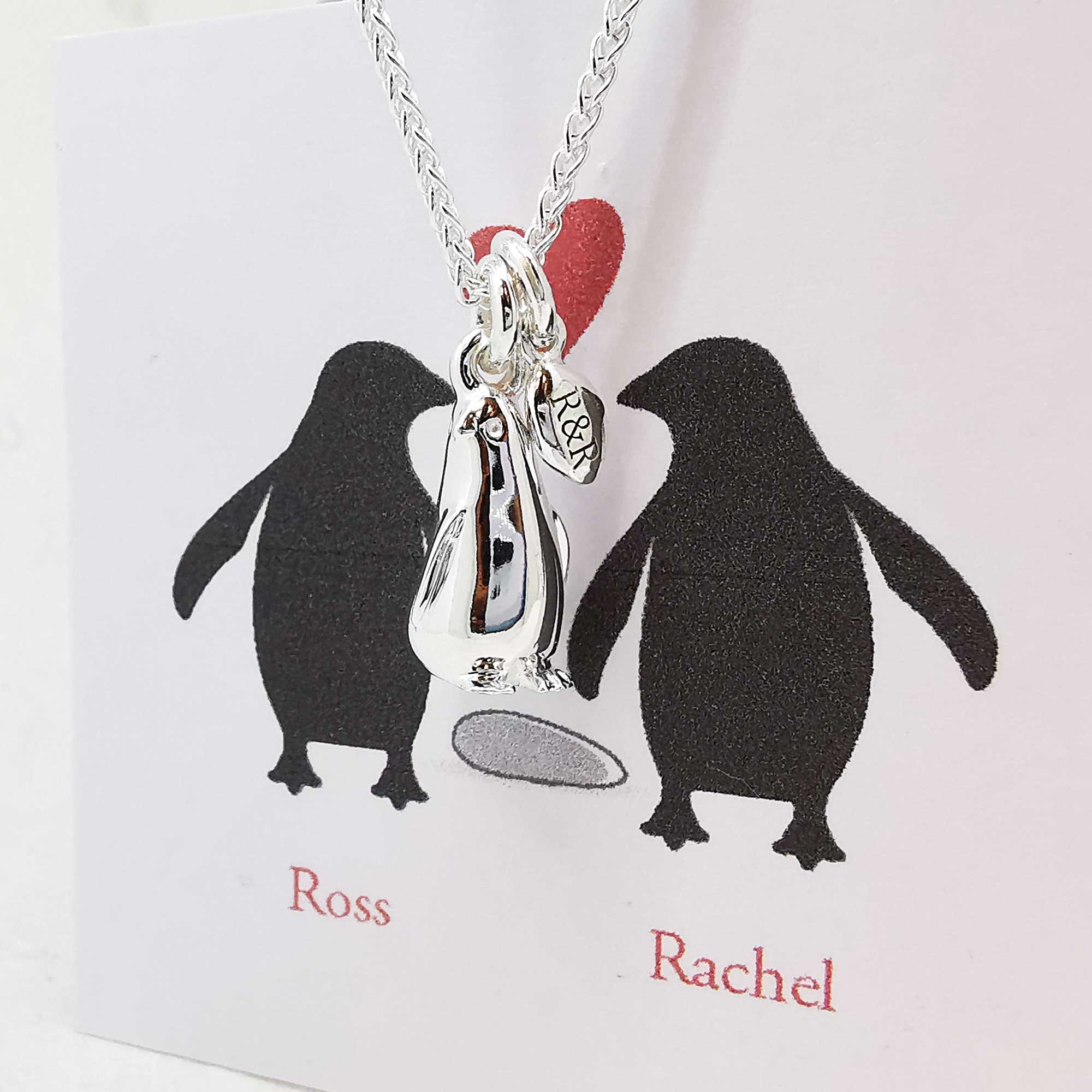 ross and rachel penguin and pebble necklace engraved valentine gift