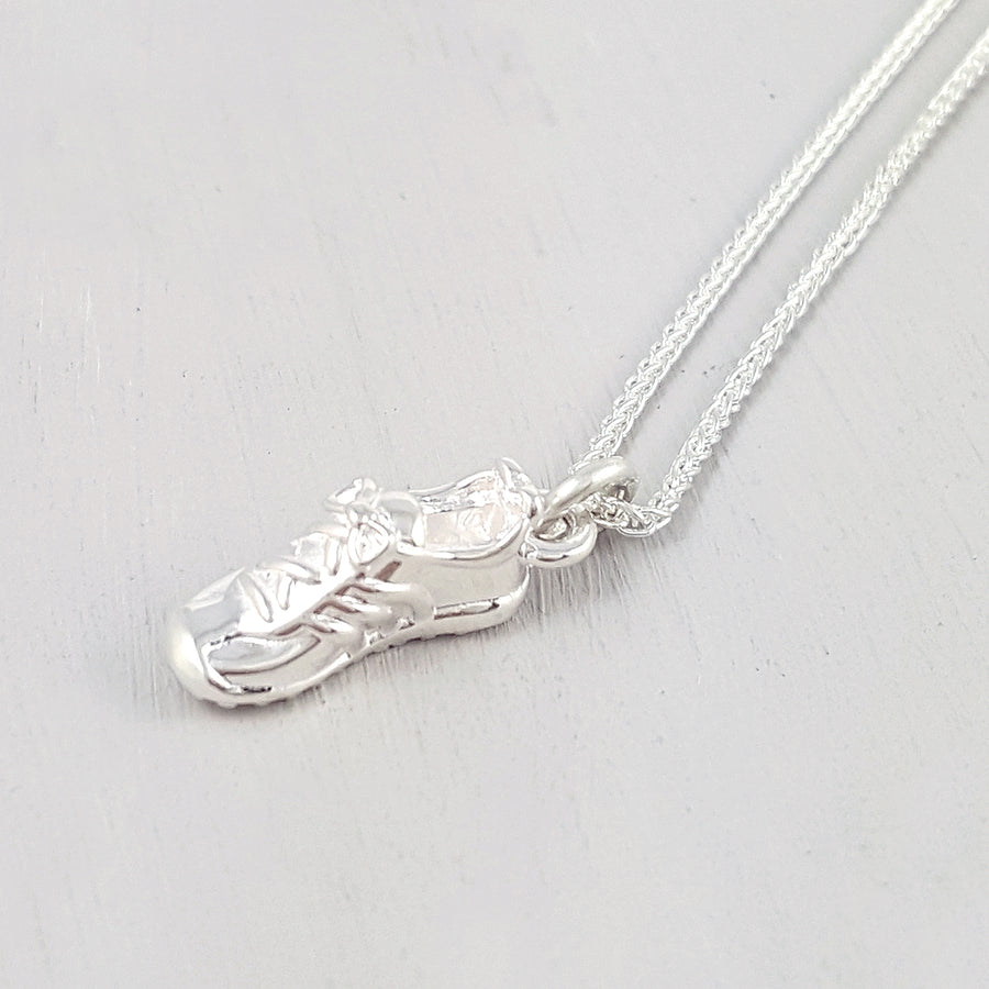 Running Shoe Silver Charm Necklace