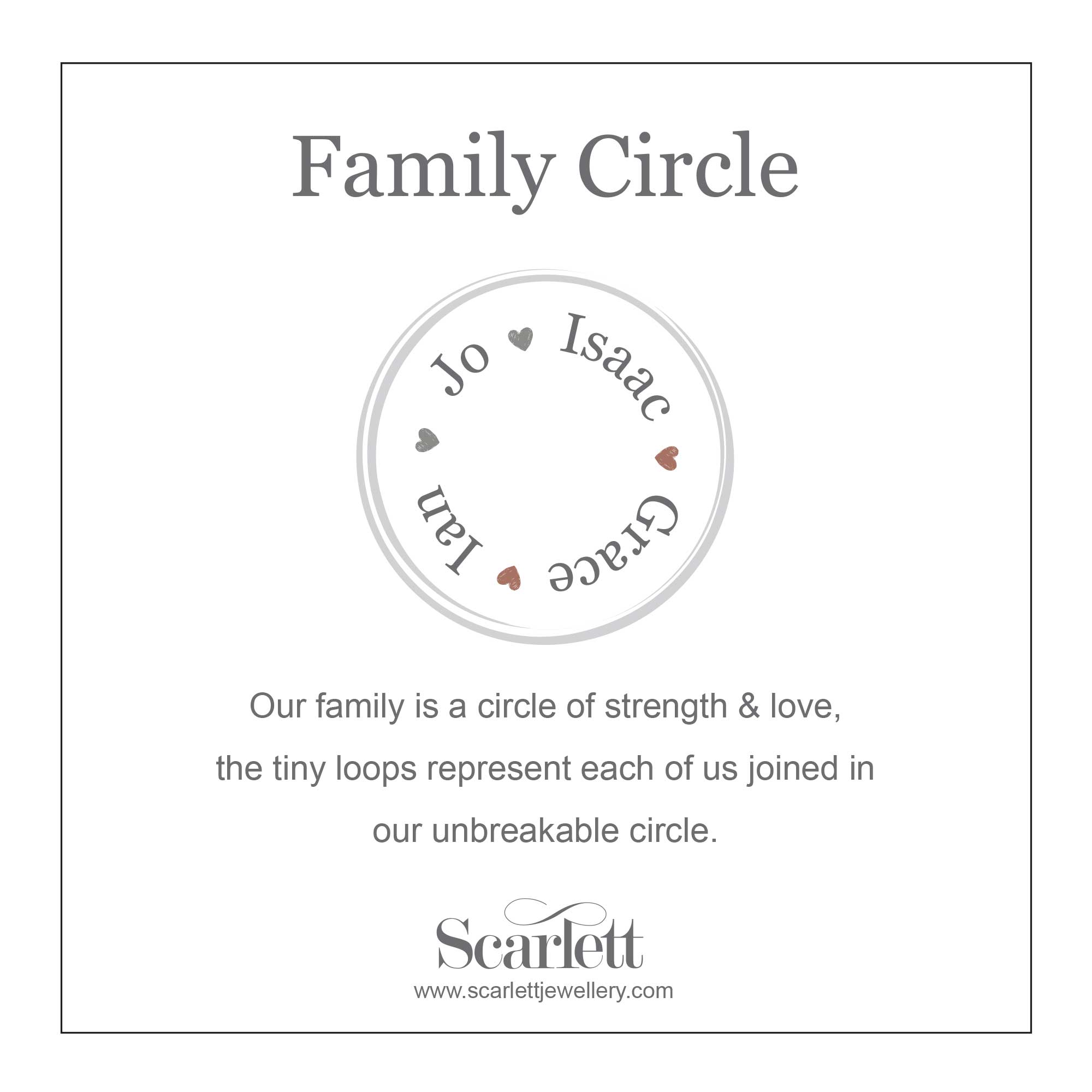 Personalised Family Circle Necklace Handmade UK Gift For Mum Mother's Day Birthday Scarlett Jewellery