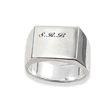 silver signet ring bespoke personalised engrave with script monogram initials mans pinky ring gift for son grandson