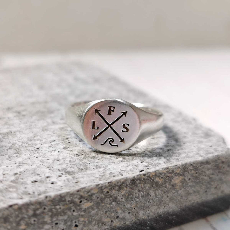 Family Initials Personalised Silver Signet Ring