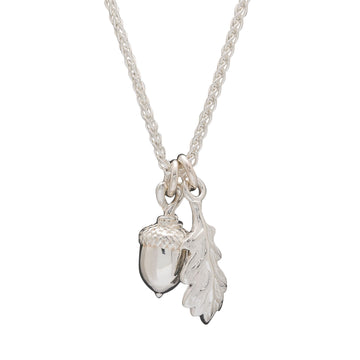 silver acorn and oak leaf necklace Scarlett Jewellery nature jewellery Chelsea Flower Show