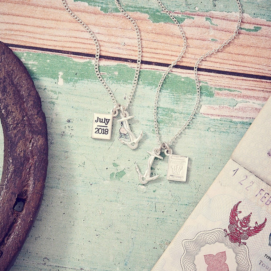Anchor & Passport Personalised Sailing Pendant Silver Travel Gap Year Curb Chain Necklace