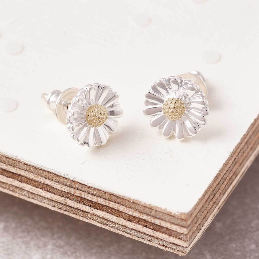 Daisy silver and solid gold centre stud earrings RHS Chelsea flower show Scarlett Jewellery