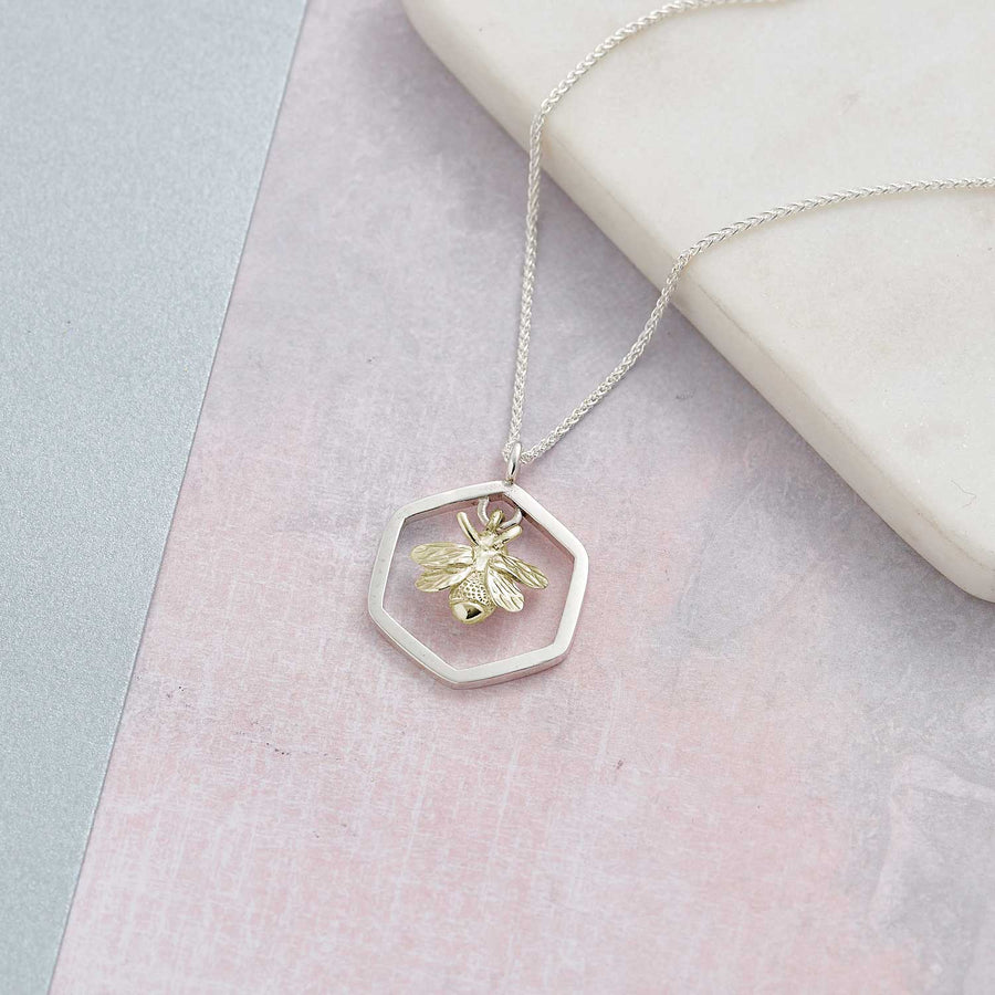 Large Honey Bee Gold And Silver Hexagon Honeycomb Necklace Scarlett Jewellery