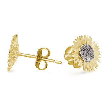 solid gold vermeil sunflower stud earrings flower studs chelsea flower show