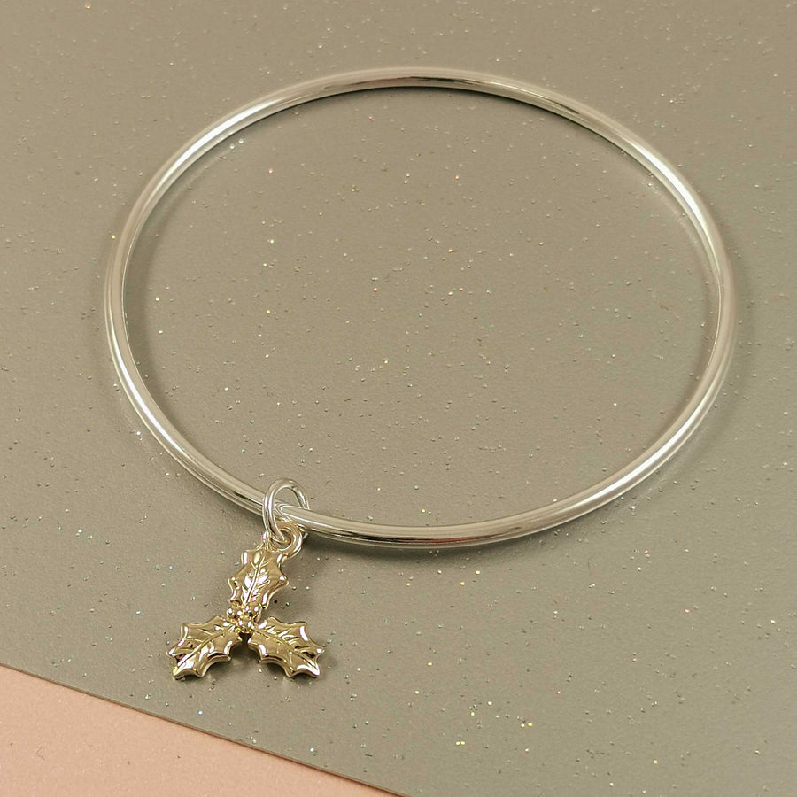 Gold & Silver Holly Charm Bangle