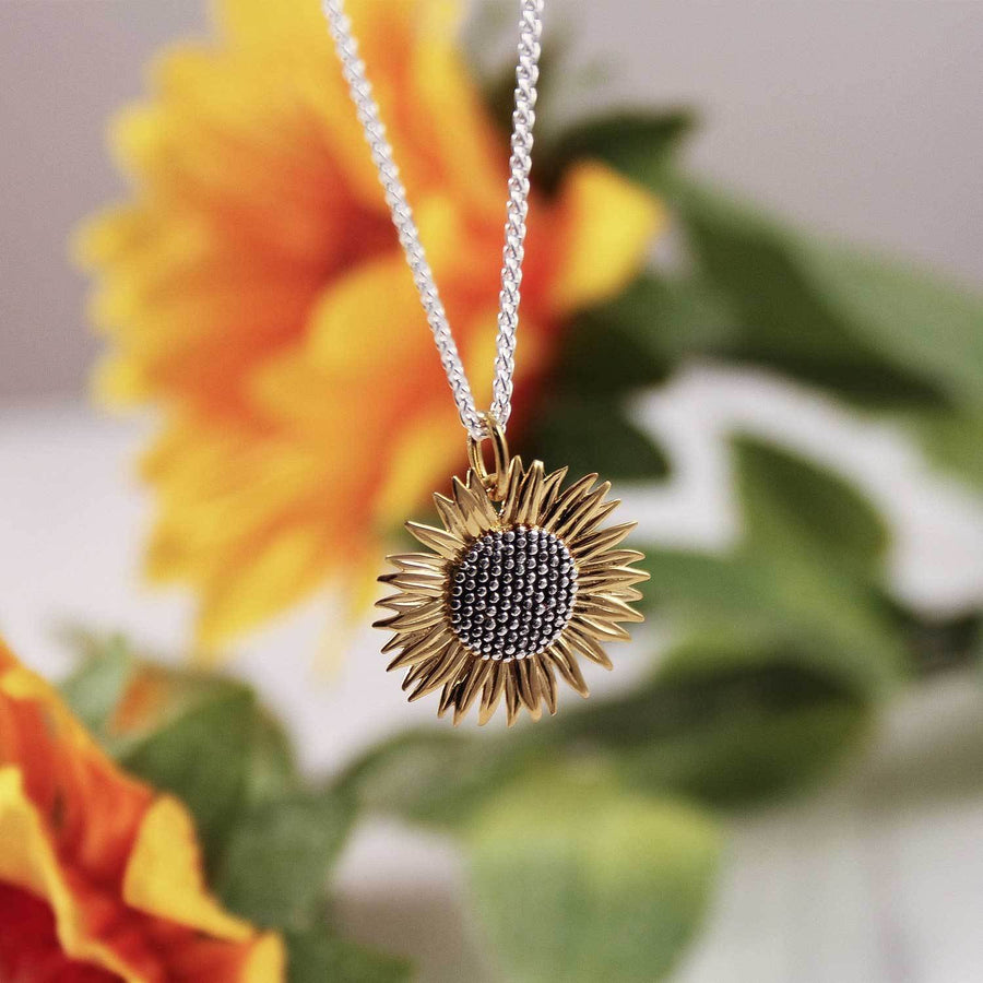 large sterling silver and gold plated sunflower pendant necklace scarlett jewellery uk