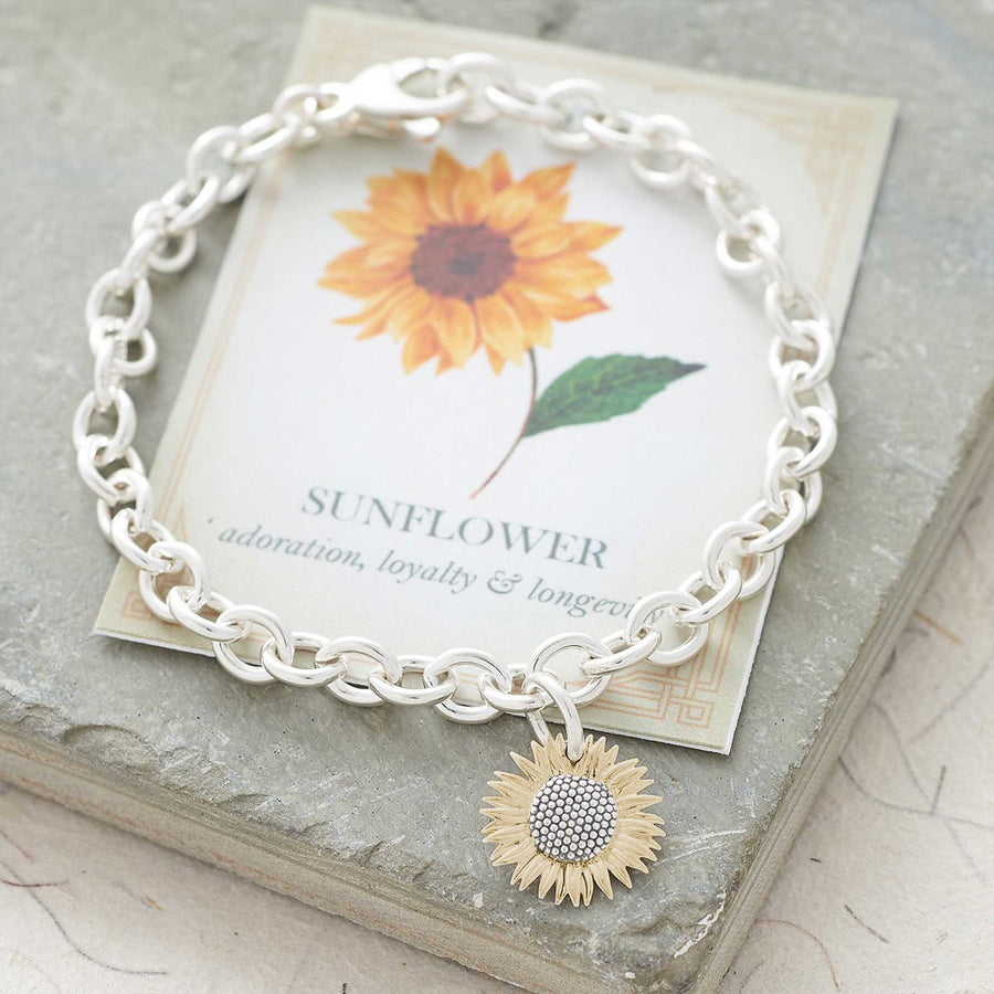 gold plated vermeil silver sunflower charm bracelet
