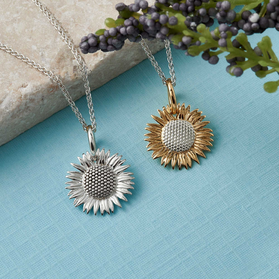 gold plated vermeil silver sunflower charm necklace