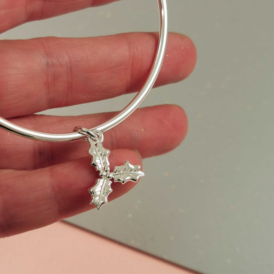 Silver Holly Charm Bangle