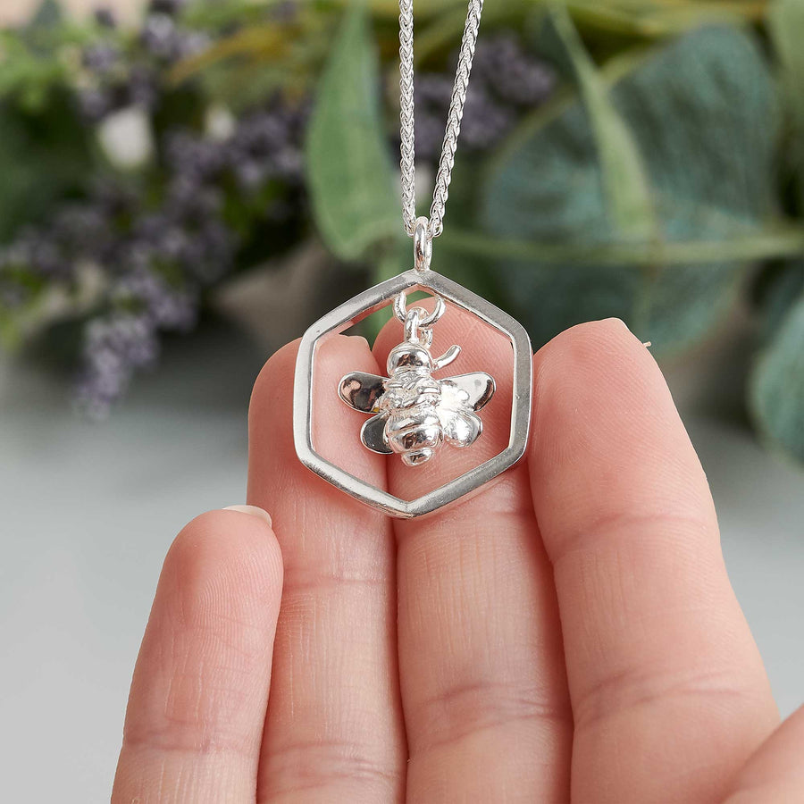 honey bee solid sterling silver honeycomb hexagon necklace scarlett jewellery