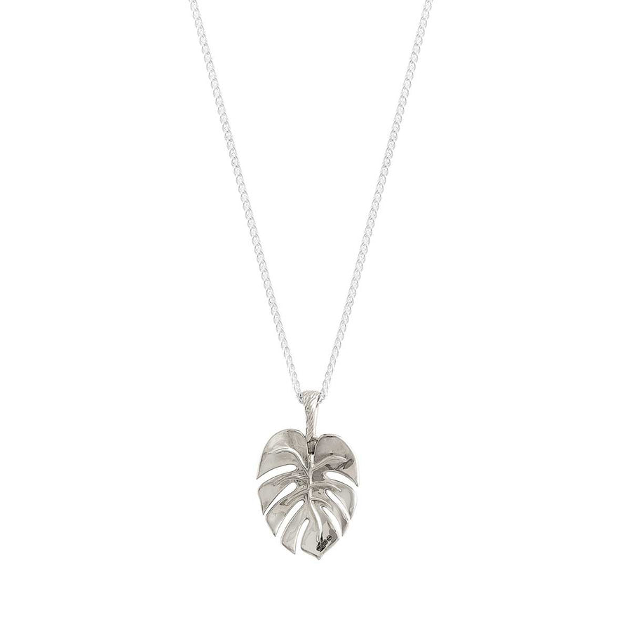 Monstera Palm Leaf Silver Necklace Scarlett Jewellery Tropical Pendant