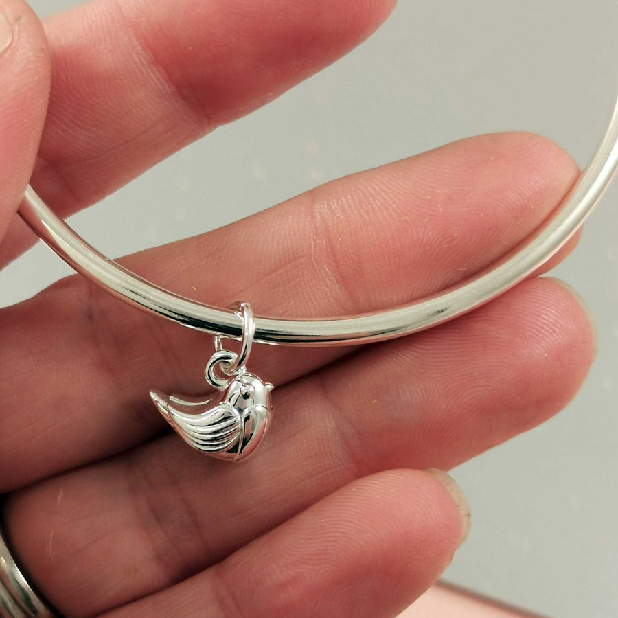 Silver Robin Charm Bangle