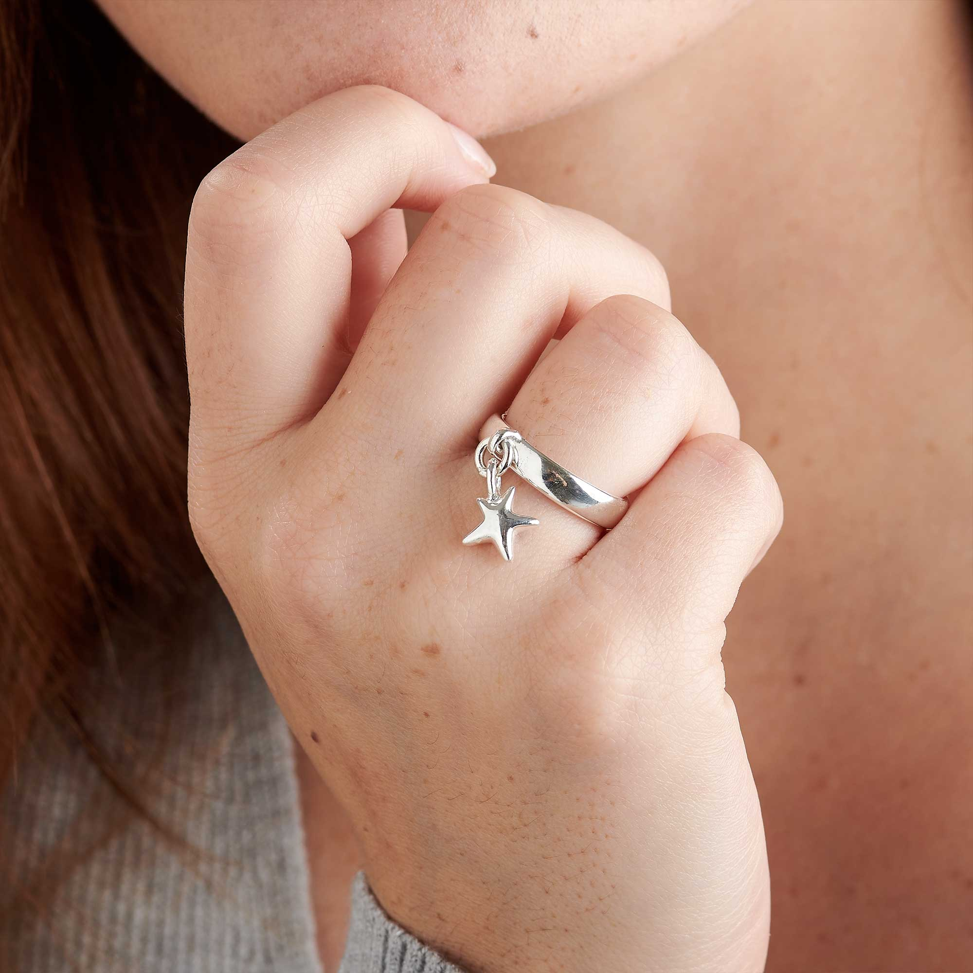 Stardust silver star charm ring unusual womens jewellery UK