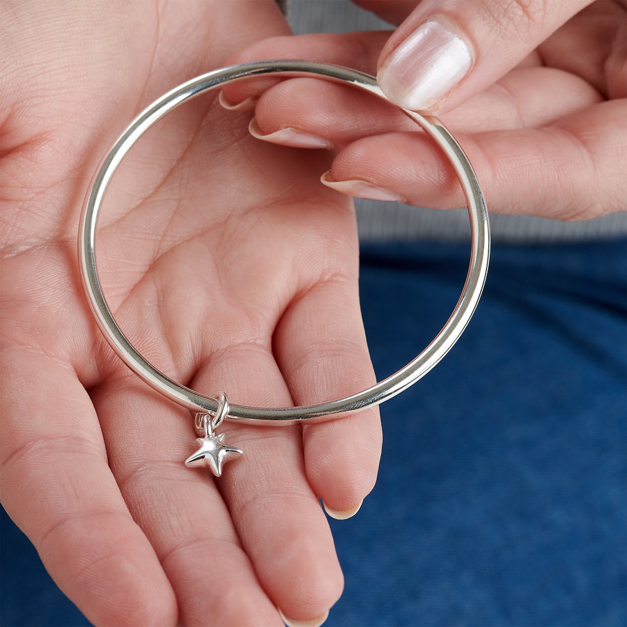 Stardust Silver Charm Bangle