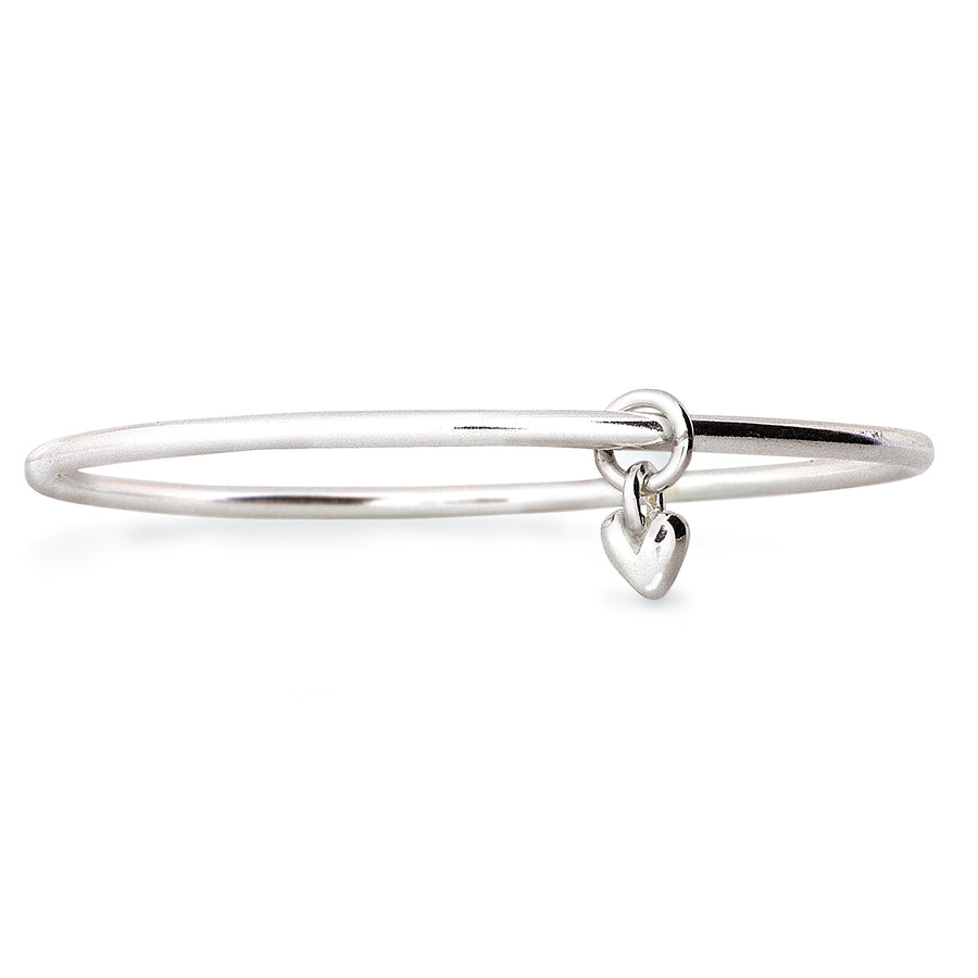 Recycled silver heart charm bangle made in UK by Scarlett Jewellery