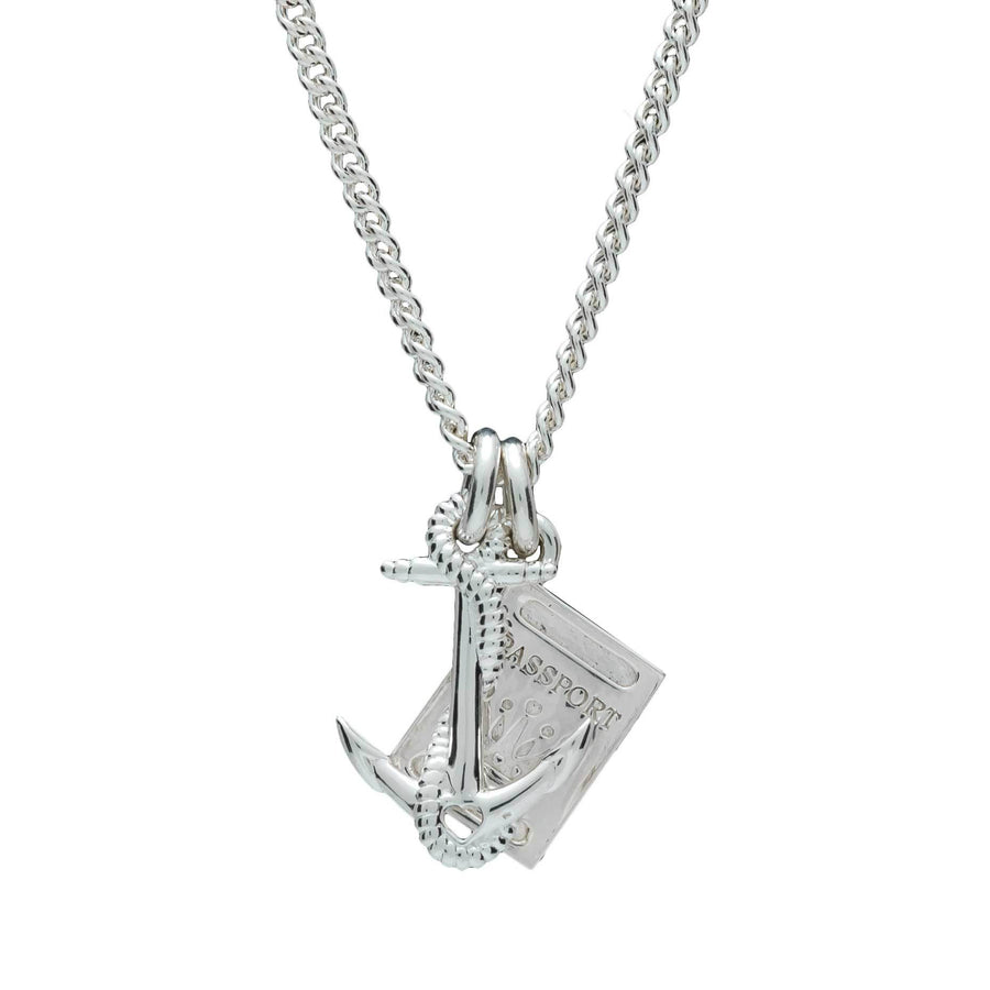 Anchor & Passport Personalised Silver Travel Gap Year Curb Chain Necklace