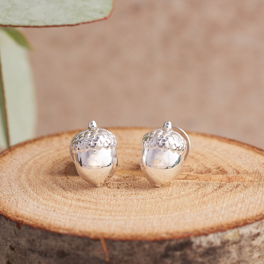 Acorn Silver Stud Earrings Brighton designer Scarlett Jewellery as seen at Chelsea Flower Show