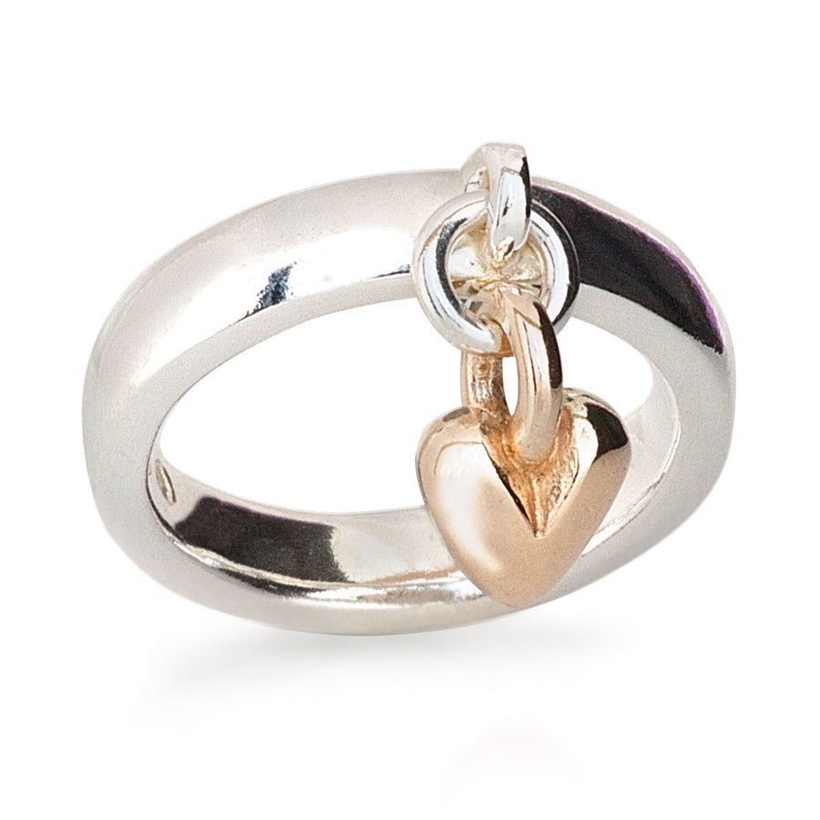 solid silver & recycled gold heart charm ring designer womens scarlett jewellery UK