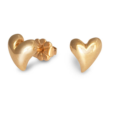 Simply Heart Solid Gold Designer Stud Earrings Scarlett Jewellery