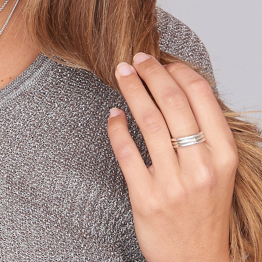 Everyday silver stacking ring with solid gold heart scarlett jewellery
