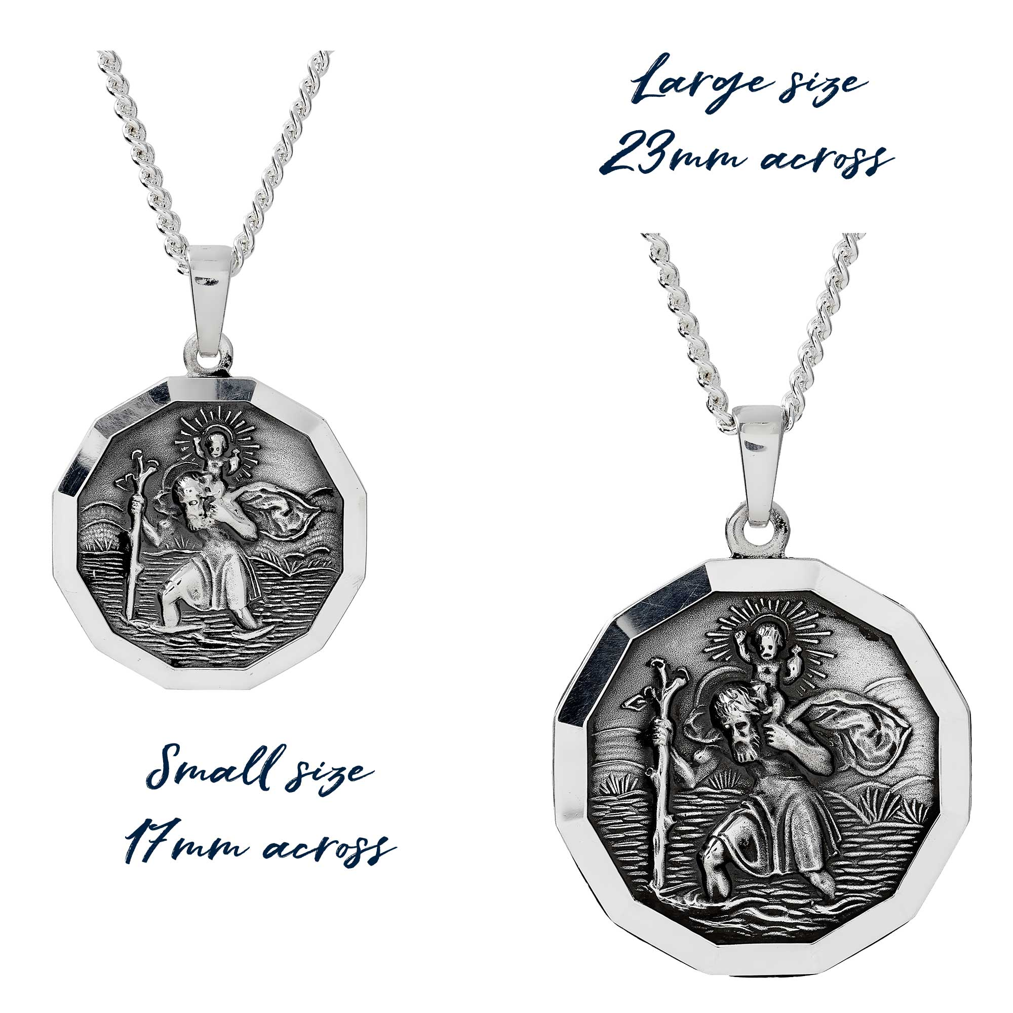mens and womens size saint christopher pendants off the map premium travel jewelry gifts made in UK