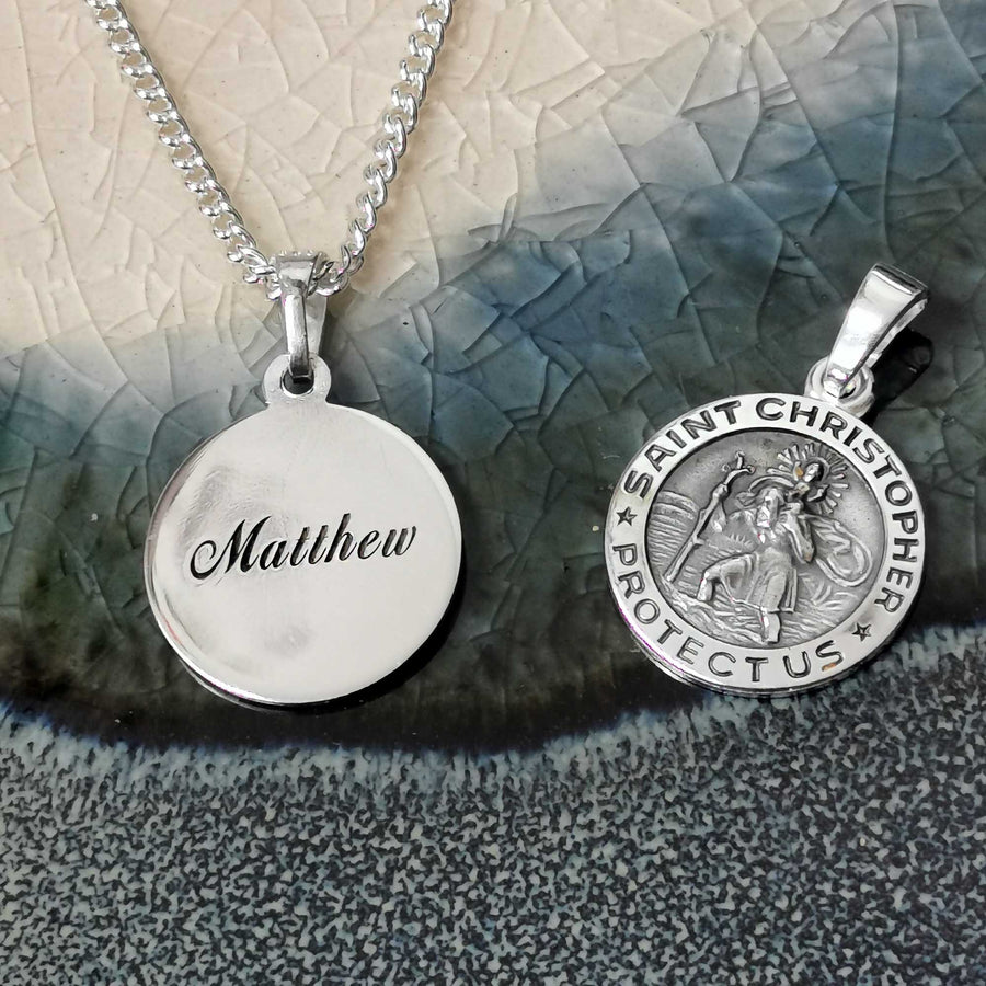 engraved back small saint christopher necklace for men or women