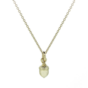 Little Acorn Solid Gold Necklace made in UK designer Scarlett Jewellery