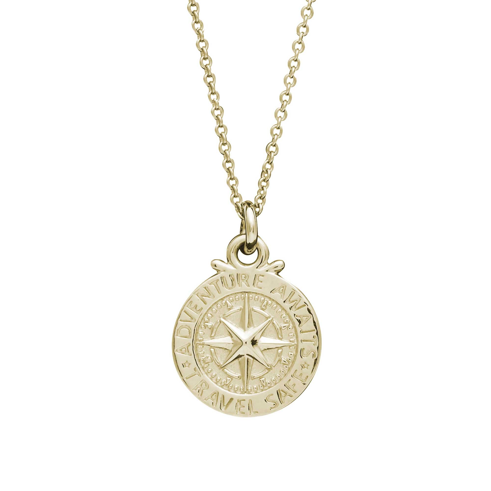Solid gold womens st Christopher compass necklace Travel Safe Off The Map Jewellery
