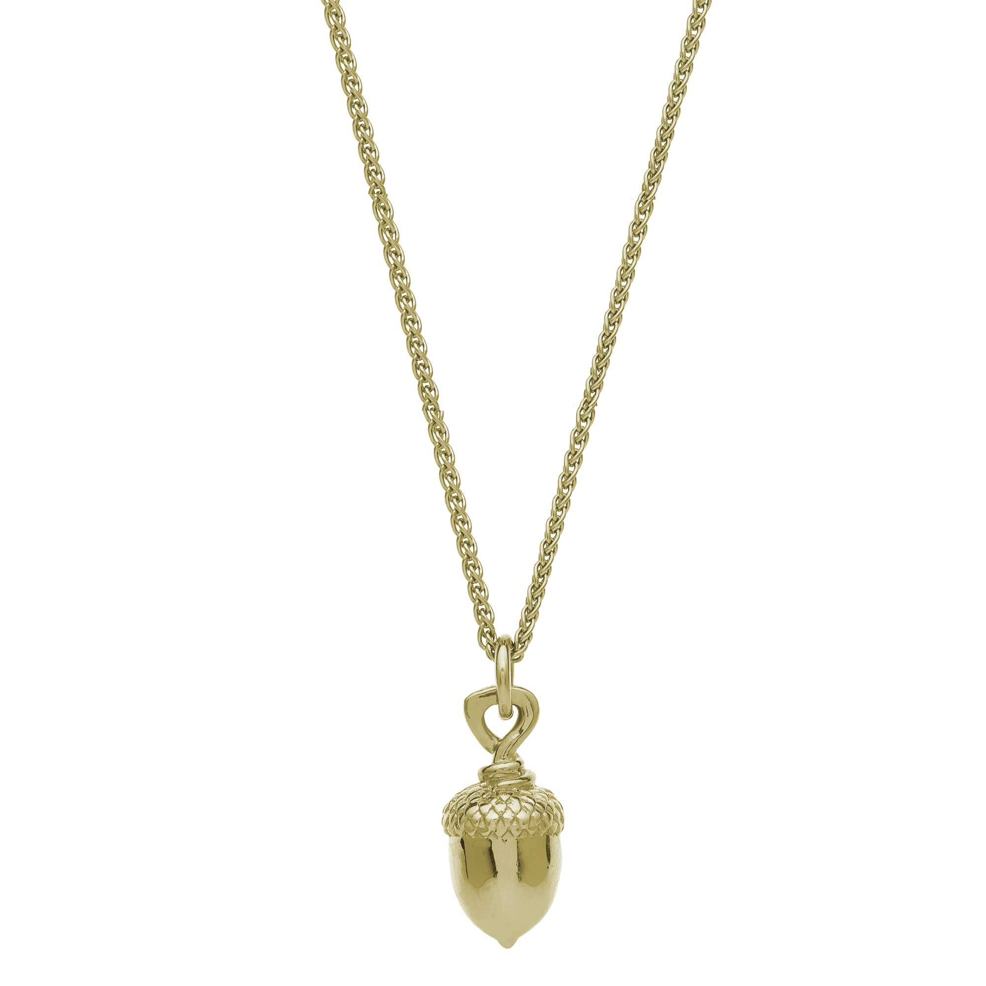 Solid gold acorn necklace handmade UK Designer Scarlett Jewellery