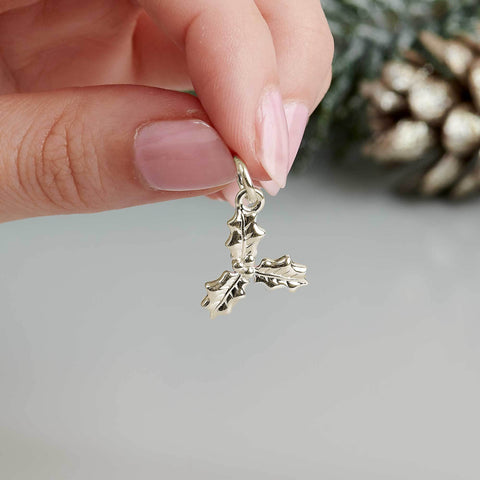 Solid gold holly charm