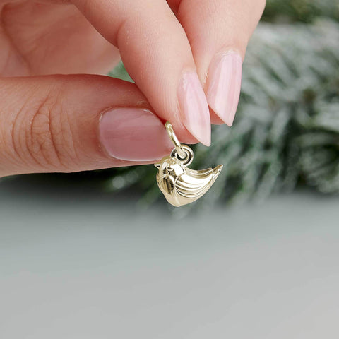 Solid Gold Robin Christmas Bracelet Charm