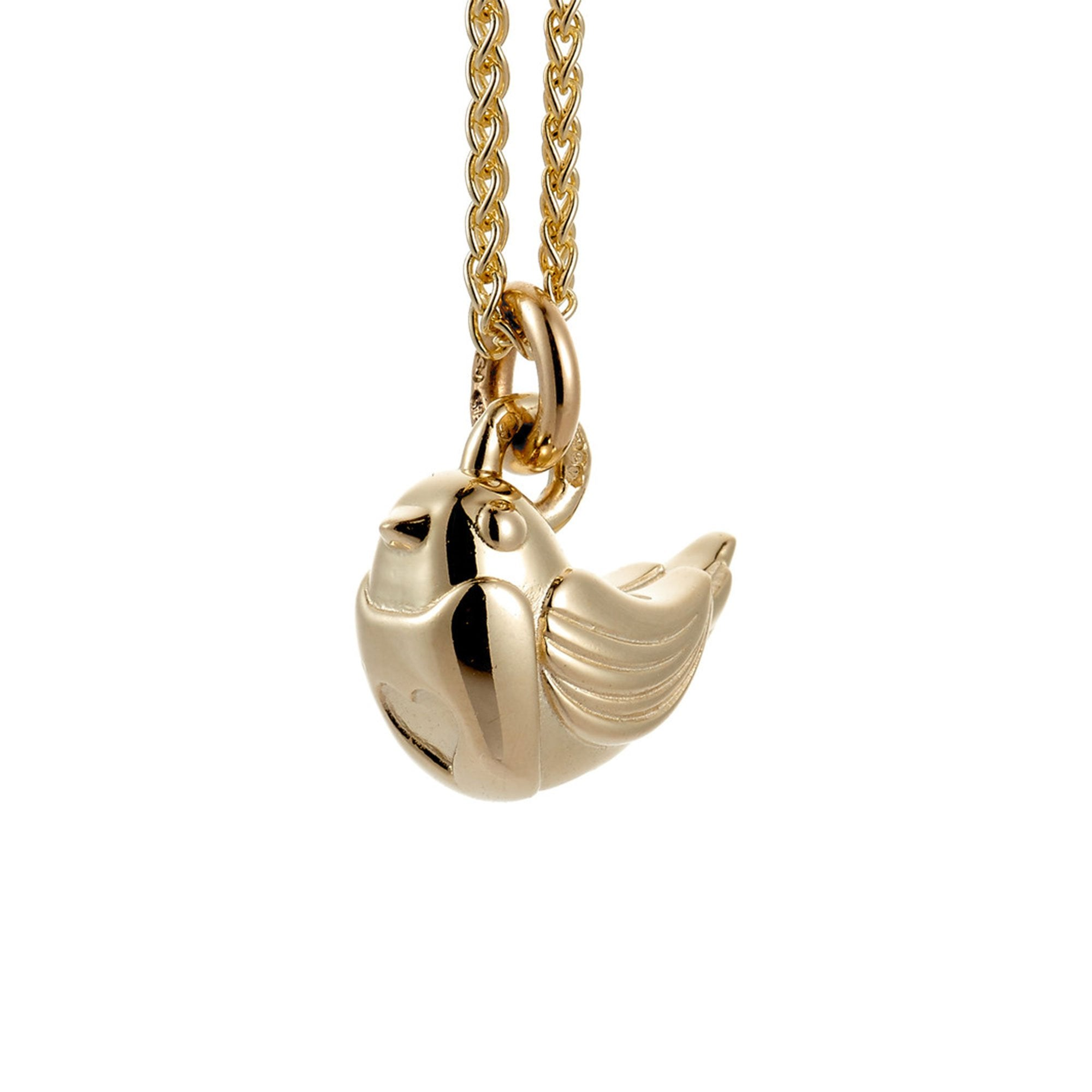 solid gold robin bird gold necklace 9k solid fine gold christmas necklace for women