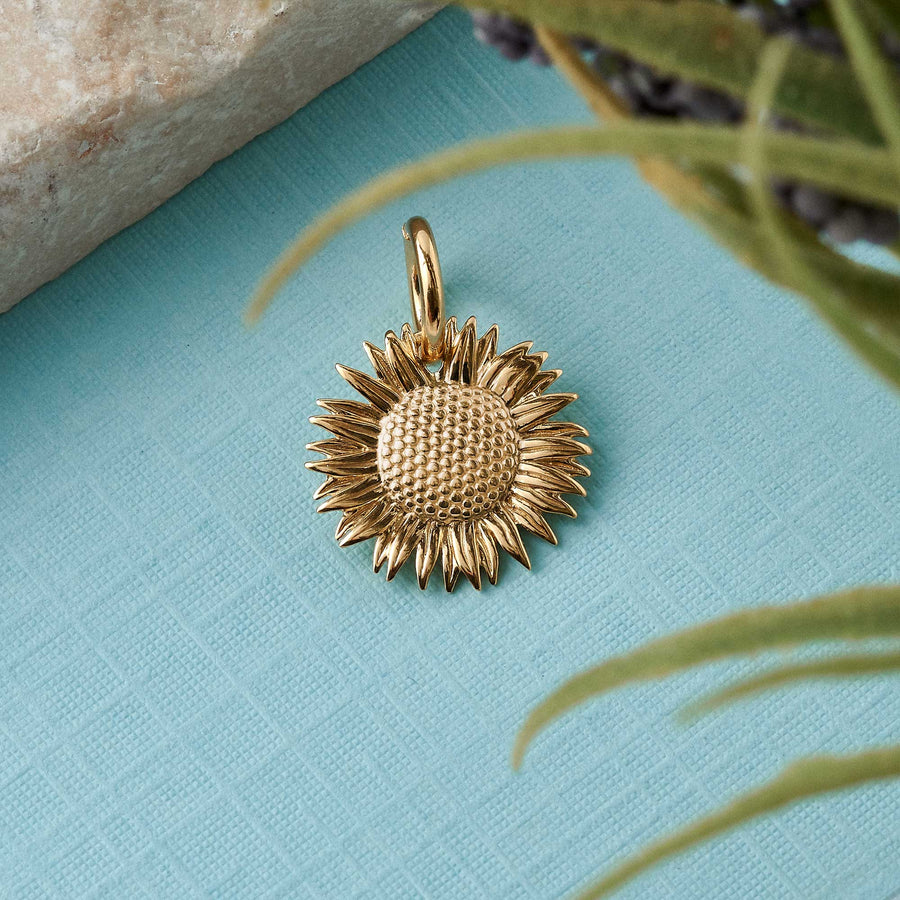 solid gold sunflower bracelet necklace charm 9 carat made in UK