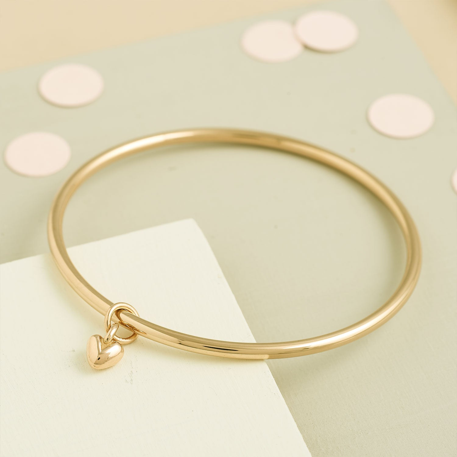 solid 9 carat gold heart bangle for women Scarlett Jewellery