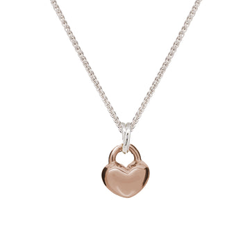 solid rose gold and silver love heart pendant necklace romantic anniversary gift for girlfriend wife