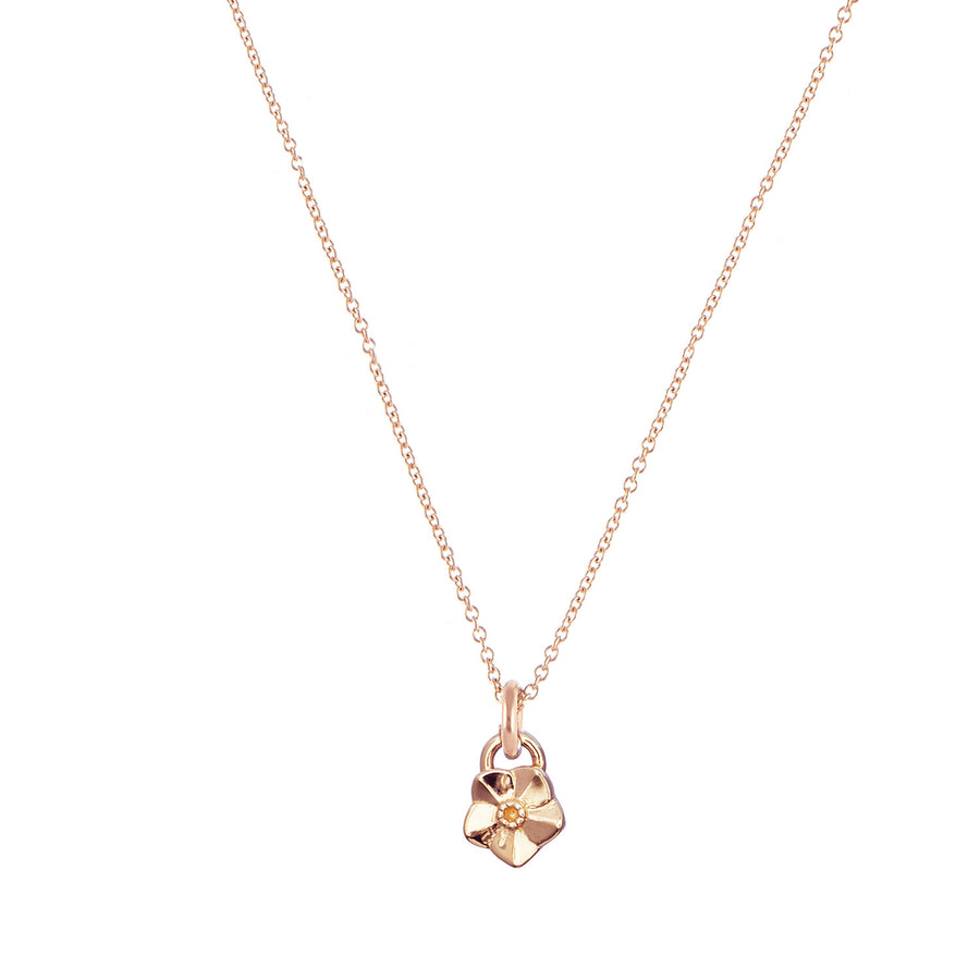 Solid rose gold tiny forget me not flower necklace Scarlett Jewellery