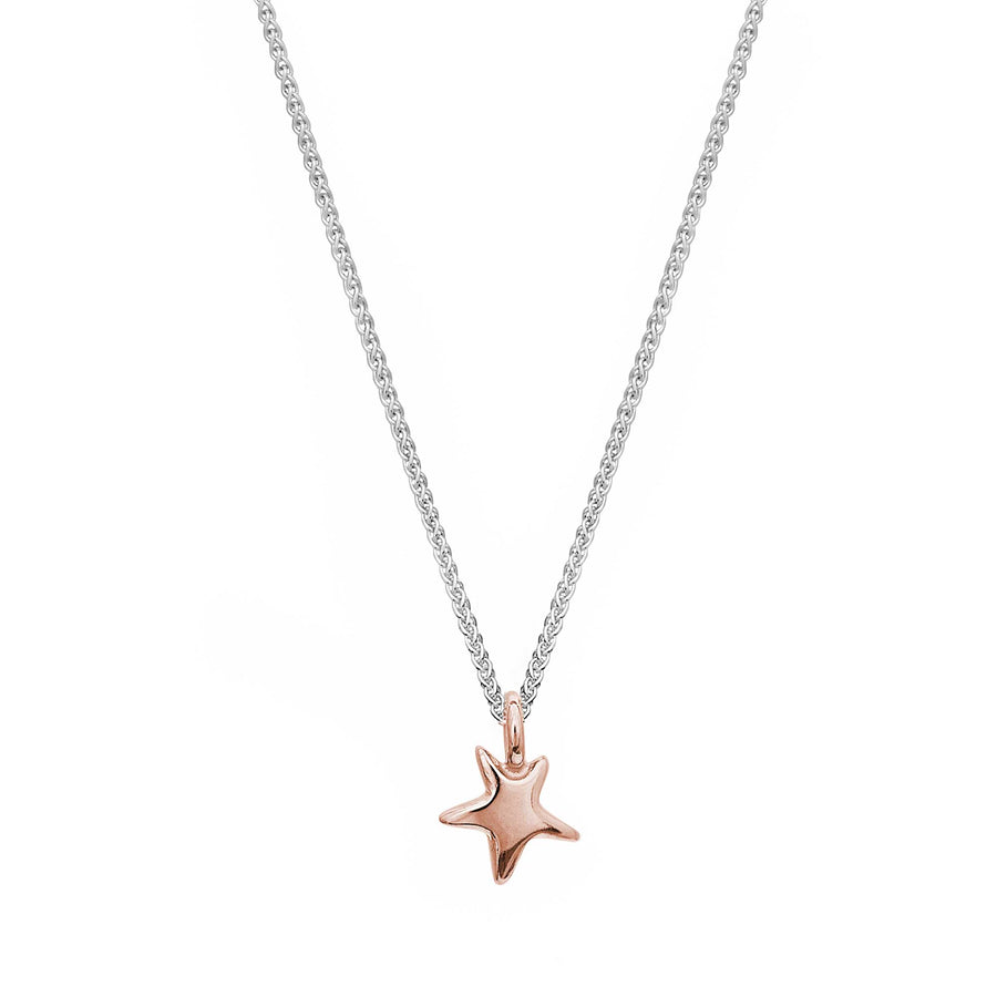 Delicate solid rose gold and silver star pendant for teens young womens gift designer Scarlett Jewellery