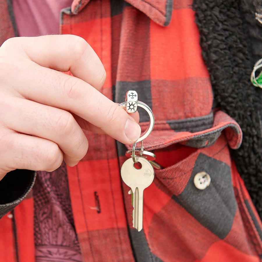 Travel gift for men who don't wear jewellery travel charm silver keyring from off the map jewellery