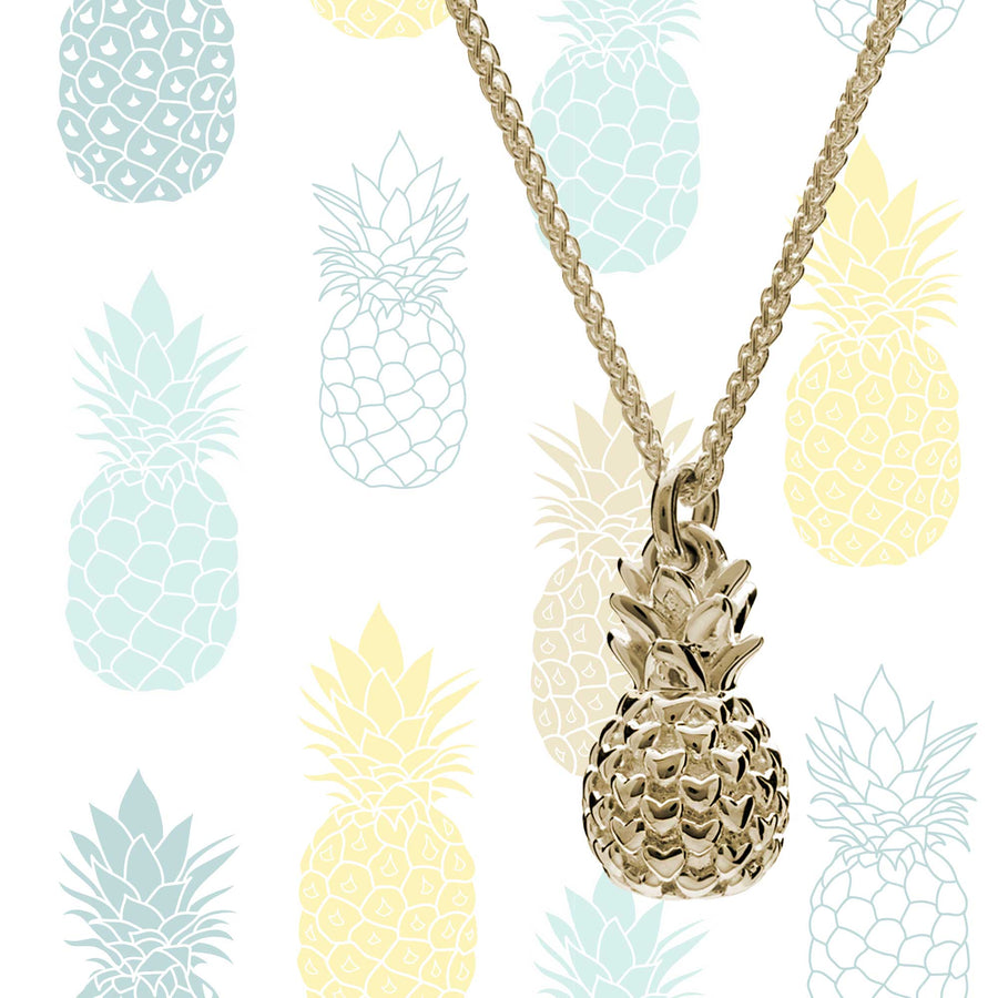 solid 9ct gold pineapple pendant necklace scarlett jewellery made in uk