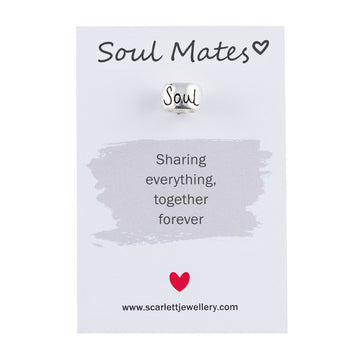 Soul Mates engraved silver charm bead Scarlett jewellery