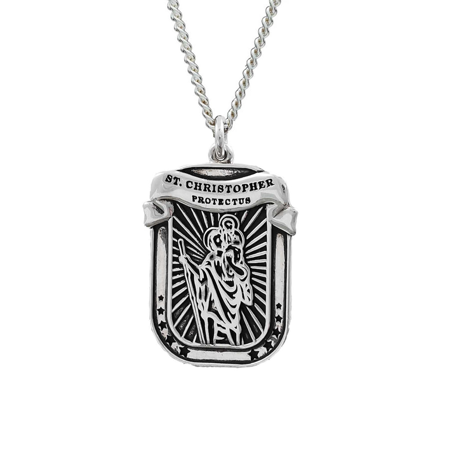 modern saint christopher protectus ribbon dog tag necklace for men
