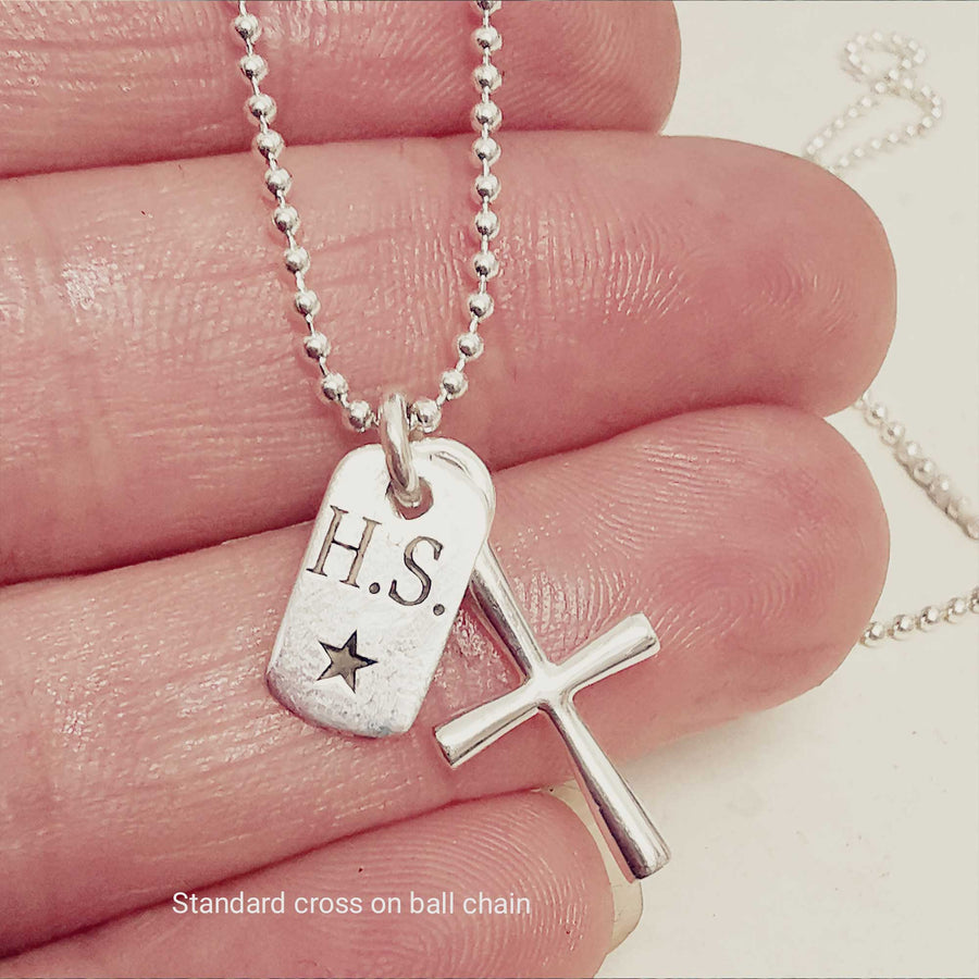 tiny dogt tag cross necklace for women teens personalised christening confirmation gift