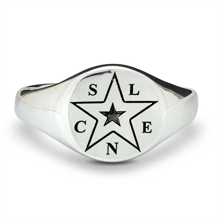 initials mens signet ring personalised star family gift for dad