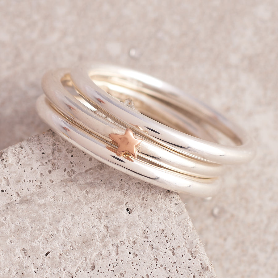 Elegance Silver Stacking Ring With Solid Gold Star