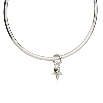 Silver star charm bangle designer jewellery Scarlett Made in Brighton UK